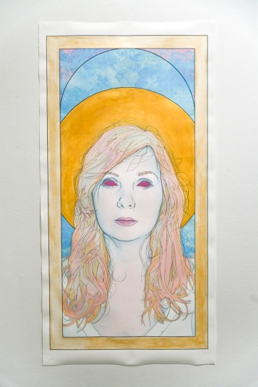 Title: '...As Saint Lucy' by Blake Peterson (2012) Media: Mixed-Media Illustration (Ink, Digital Print, Screen-Printing, Graphite, & Acrylic) Dimensions: Approximately 7 ft x 3.5 ft