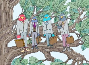 """Title: """"Business Birds (Yea... Birds who are into 'Business'...)"""" by Zoe Phillips & Blake Peterson (2011) Media: Giclée Print Dimensions: 17.7 x 24 inches Edition Info: 10"""