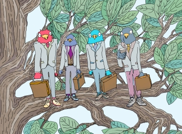 "Title: ""Business Birds (Yea... Birds who are into 'Business'...)"" by Zoe Phillips & Blake Peterson (2011) Media: Giclée Print Dimensions: 17.7 x 24 inches Edition Info: 10"