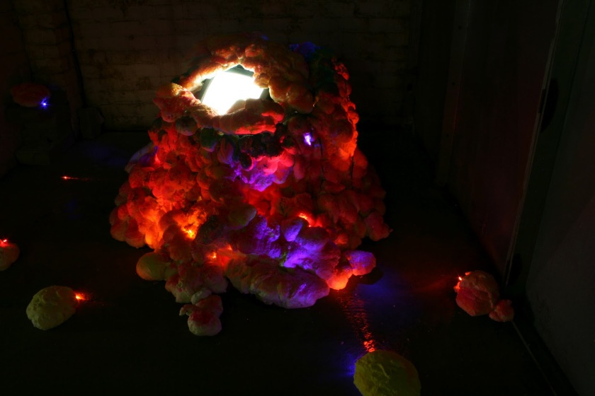 Title: 'Chit Chat Tummy [Installation View 1]' by Blake Peterson (2012) Media: Video, latex, acrylic, metallic ink, ink wash, screen-printing ink, and LED lights. Dimensions: 7 ft tall x 9 ft wide