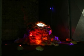 Title: 'Chit Chat Tummy [Installation View 3]' by Blake Peterson (2012) Media: Video, latex, acrylic, metallic ink, ink wash, screen-printing ink, and LED lights. Dimensions: 7 ft tall x 9 ft wide