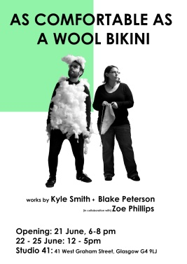 "Poster for ""As Comfortable as a Wool Bikini"" by Blake Peterson (2012)"