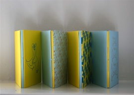 "Set of four artist books (L-R): ""Transitions"", ""Mostly Relationships"" ""Medicine"" and ""Crimes"" by Zoe Phillips (2013)"