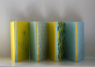 """Set of four artist books (L-R): """"Transitions"""", """"Mostly Relationships"""" """"Medicine"""" and """"Crimes"""" by Zoe Phillips (2013)"""