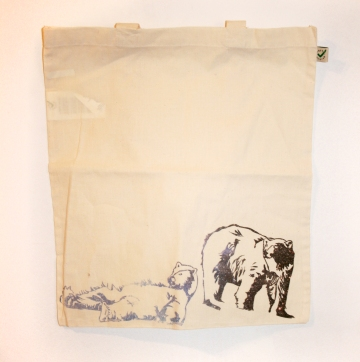 """Title: """"Lazy Space Bears"""" by Zoe Phillips & Blake Peterson (2009) Media: Organic, Carbon Neutral Bag with Non-Toxic Impregnated Pigment"""