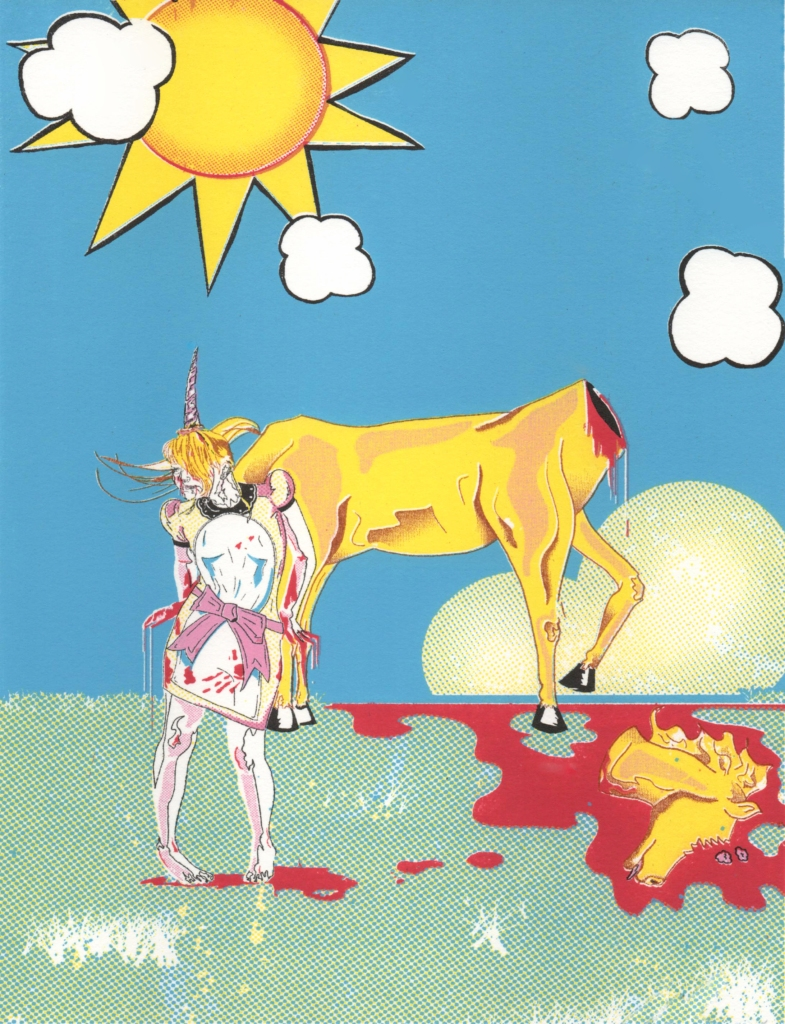 """Title: """"the Story of the Unicorn"""" by Blake Peterson Media: Lithograph Dimensions: 9.5 x 7.5 inches Edition Info: 10"""
