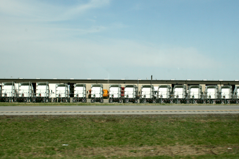 """Title: """"Scene 13: Line of Trucks [Again, Again, Again]"""" by Blake Peterson (2012) Medium: Lithographic Printing of a Photograph Dimensions: 11 x 17 in Edition Info: 15"""