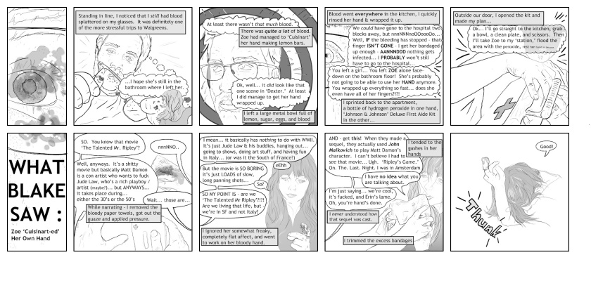 """Title: """"What I Saw"""" by Blake Peterson (2012) Excerpt from Vol 1. Pgs 1-2)  Medium: Digital Print Dimensions: 8.5 x 11 in"""