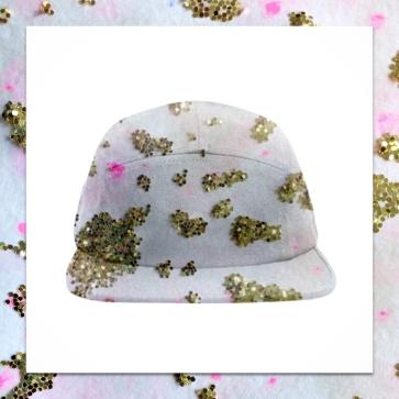 Gold glitter 'Cheetah Print' baseball cap