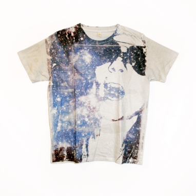 """Title: """"Space Face"""" by Blake Peterson (2009) Media: Organic T-shirt with Unique, Non-Toxic Pigment Transfer"""