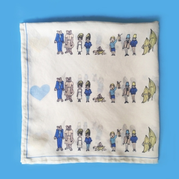Couples! Silk Scarf 24 x 24 inch scarf features a series of odd couples - tied to eachother for eternity... much like Tusch and Snuggle. Illustrations by Zoe Phillips.