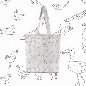"""""""Birds with Teeth"""" tote bag."""