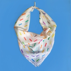 24 x 24 inch scarf features watercolor geometric shapes by Zoe Phillips & Blake Peterson.