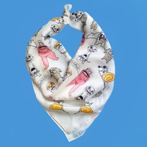 Wild Ones Silk Scarf 24 x 24 inch scarf features wild illustrations by Zoe Phillips.